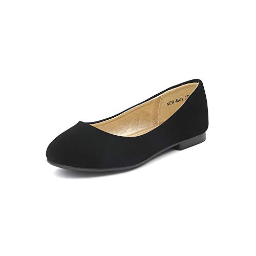 DREAM PAIRS Big Kid Muy Black Nubuck Girl's Mary Jane Ballerina Flat Shoes - 4 M US Big Kid