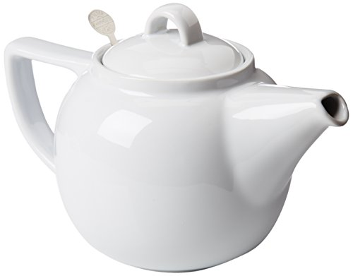 London Pottery Geo Teapot with Stainless Steel Infuser, 4 Cup Capacity, White