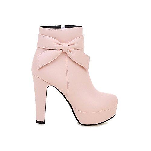 AllhqFashion Damen PU Rein Reißverschluss Hoher Absatz Stiefel, Pink, 36