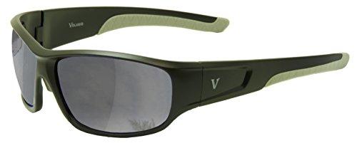 - Volugio Sports Sunglasses Model DDF-223 (Black, Grey Pads, Grey, Silver Mirror)