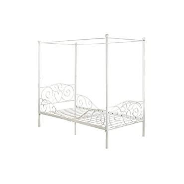 DHP Canopy Metal Bed Frame, Twin Size, White