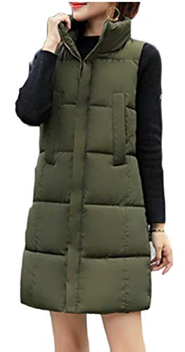 Padded Vest TTYLLMAO Quilted Sleeveless Down Women's Long Cotton Thickened Green Army WgSg6x8n