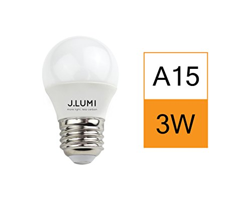 J.LUMI BPC4503 LED light bulb 3W, G45 and A15 light bulb, 25W incandecent equivalent, E26 medium base, 3000K warm white, NOT DIMMABLE, - Medium Watt Base Equivalent 25