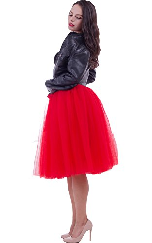 FOLOBE Women's Tutu Skirt Midi Tulle Skirts 7 Layers Petticoat
