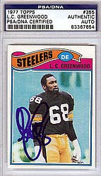 (L.C. Greenwood Signed 1977 Topps Trading Card - PSA/DNA Authentication - Autographed NFL Football Memorabilia)