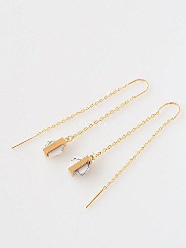 Gemstone Threader Earrings (Minimal White Simulated Howlite Stone Threader Earrings)