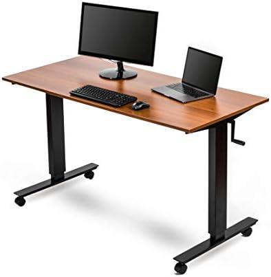 Crank Adjustable Height Standing Desk 56 Inches Wide, Black Frame Teak Top