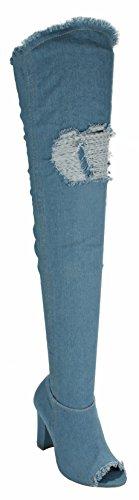 Donne Sfilate Di Moda Vintage Sfilacciati Denim Open Toe Coscia Alta Sopra Ginocchio Stivali Chunky Tacco Blu