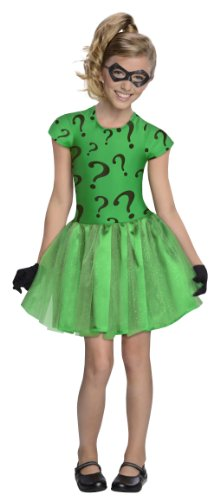 DC Super Villain Collection Riddler Girl's Costume with Tutu Dress, (Halloween Costumes The Riddler)