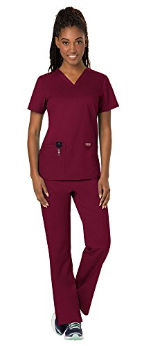 (Cherokee Workwear Revolution Women's Medical Uniforms Scrubs Set Bundle - WW620 V-Neck Scrub Top & WW110 Elastic Waist Scrub Pants & MS Badge Reel (Wine - Medium/Small Tall))