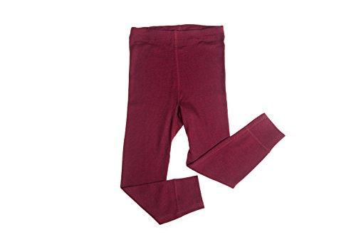 Hocosa of Switzerland Little Kids Organic Wool-Silk Long-Underwear Pants, Bordeaux, s. 116/6 yr