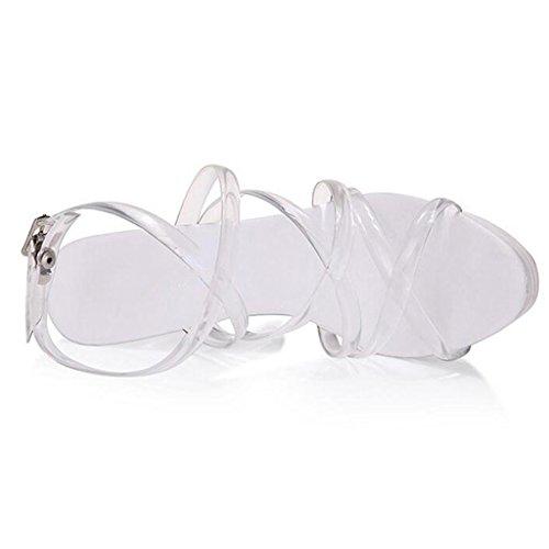 Llp Transparente Sandalias Fondo Mujer De Tacón Zapatos Correas Plataforma Transparent Modelo Cristal Alto Impermeables Grueso p7pwar