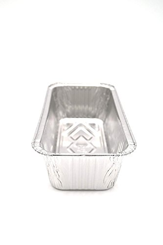 Aluminum Foil 2-LB Bread Loaf Pans l Standard Size 8.5 inch x 4.5 inch x 2.5 inch l Top Bakers Choice Disposable Tin Baking Pan Oven Safe Sturdy Containers for Cakes Meatloaf Lasagna Roasting (50 Pack)