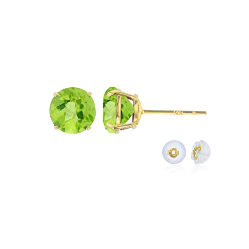 Green Peridot - Genuine 14K Solid Yellow Gold 6mm Round Natural Green Peridot August Birthstone Stud Earrings