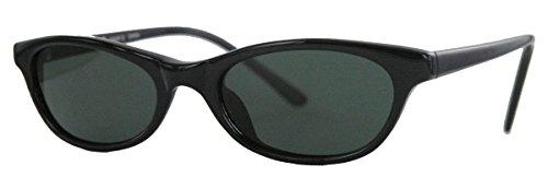 kleine Retro Sonnenbrille für schmale Gesichter 50er 60er Jahre Vintage Modell LFB (Schwarz)