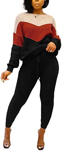 SHINFY Women`s 2 Piece Outfits Sweater Top and Bodycon Pants Jumpsuit Plus Size