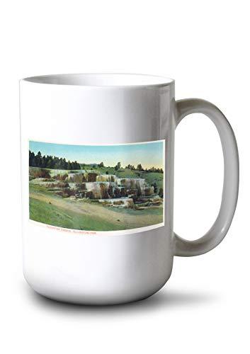 (Lantern Press Yellowstone National Park, Wyoming - Cleopatra Terrace (15oz White Ceramic Mug) )