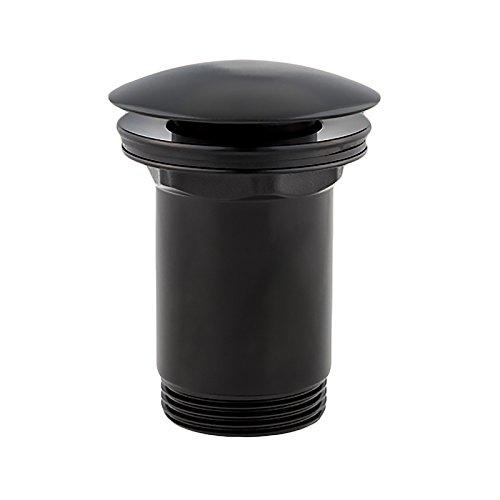 Bonde lavabo Clic-Clac Pop-Up OMNIRES®   Siphon pour lavabo Click-Clack   Salle de bain, lavabo accessoires   Couleur: Noir mat, couverture: ronde, arqué