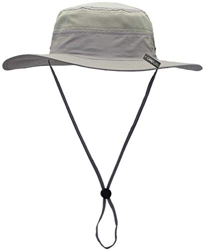 Camo Coll Outdoor Sun Cap Camouflage Bucket Mesh Boonie Hat (Light Grey, One Size)