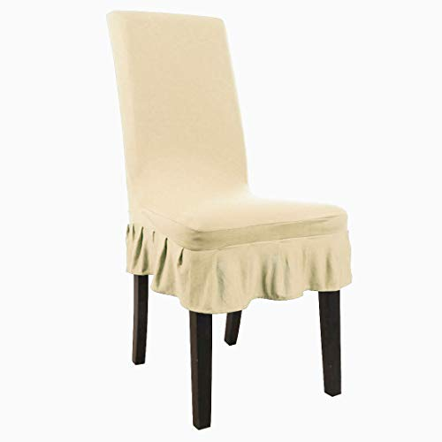 uxcell Dining Chair Covers,Ruffled Skirt Stool Slipcover Stretch Spandex Chair Protectors Short Kitchen Chair Seat Cover for Home Dining Room Party Wedding(Large,Champagne Color)