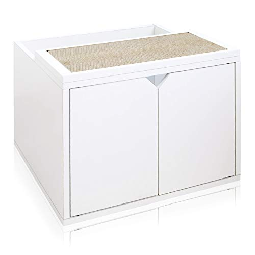 Way Basics Eco Friendly Cat Litter Box Enclosure with Doors (Made from Sustainable Non-Toxic zBoard paperboard)