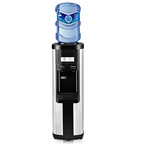 Giantex Water Cooler Dispenser Top Loading Upgraded Version, with Child Safety Lock Prime Stainless Steel Normal Temperature and Hot Water of 3 to 5 Gallon Bottles for Office Home Living Dining Room, Energy Star Approved Water Coolers