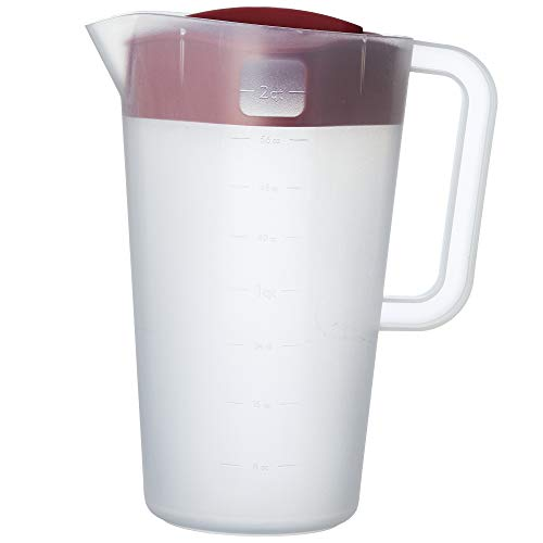 Goodcook 10659 1/2 Gallon Plastic Straining Pitcher Square Lid with 3 Strainers and Close No Spill, Dishwasher Safe, Clear and Red (Plastic Dishwasher Safe Pitcher)
