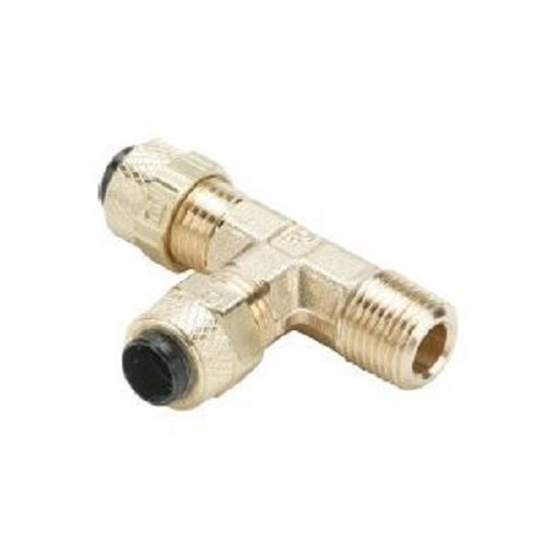 Parker 171P-4-2-pk5 Compression Fitting for Thermoplastic and Soft Metal Tubing, Poly-Tite, Tube to Pipe, Brass, Compression and Male Pipe Run Tee, 1/4