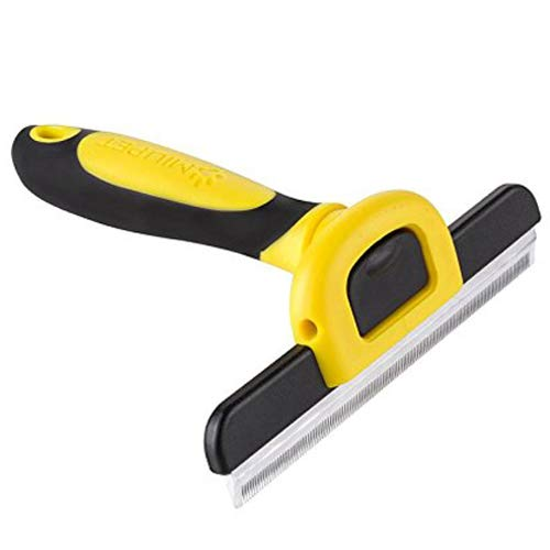 MIU COLOR Pet Deshedding Brush, Professional Grooming Tool, Effectively Reduces Shedding by Up to 95% for Short Hair and Long Hair Dogs Cats(Yellow)