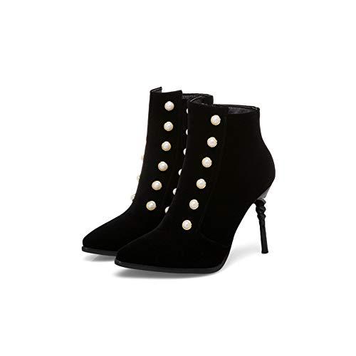Shoes Tacchi Btrada Elegante Dress Donna Con Aguzza Sexy Perla Alti Sposa Stivaletti Punta Cerniera Da Lato Stivaletti Neri w4B8tq4U7