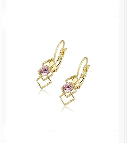 Radiant Gold Plated Triple Triangular Pink Cubic Zirconia Dangle Earrings
