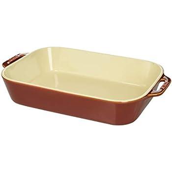 Staub 40511-889 Ceramics Rectangular Baking Dish, 13x9-inch, Rustic Red