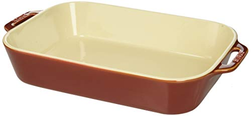 2 Piece Rectangular Baking Dish - Staub 40511-889 Ceramics Rectangular Baking Dish, 13x9-inch, Rustic Red
