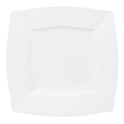 Table To Go 'I Can't Believe It's Plastic' 200-Piece Plastic Dinner Plate Set | Square Waves Collection | Heavy Duty Premium Plastic Plates for Wedding, Parties, Camping & More (Heavyweight Square)
