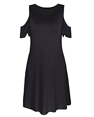 OUGES Women's Cold Shoulder Ruffle Sleeves Summer Dress