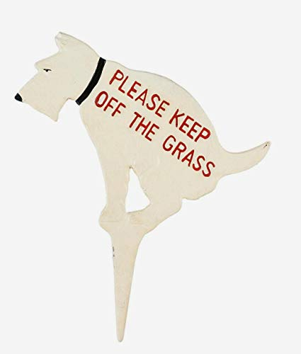 (Keep Off the Grass Rustic Cast Iron Dog Yard Sign Stake)