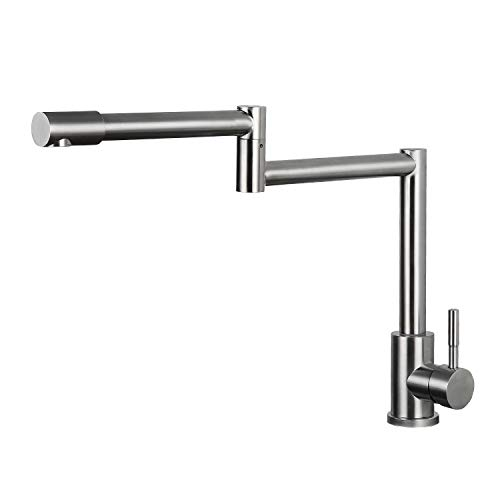 Modern Single Handle Stainless Steel Kitchen Sink Faucets, Brushed Nickel Deck Mount 2 Joints Pot Filler Faucet (Deck Mounted Pot Filler)