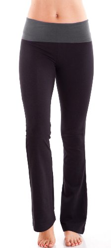 charcoal-ladies-color-block-rolled-waist-black-yoga-pants