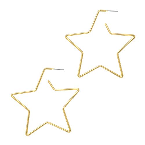 And Lovely 14K Gold Dipped Star Earrings - Statement Hoop Earrings - Drop Dangle Earrings (Gold Star Hoop)