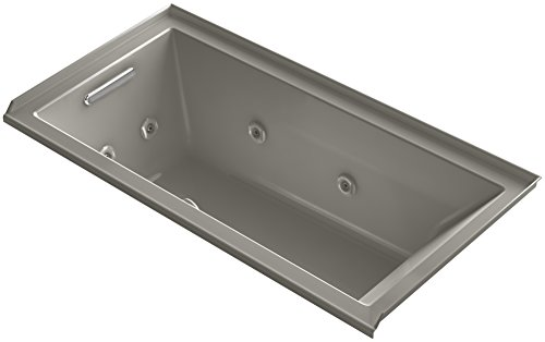 KOHLER K-1167-LH2-K4 Underscore 60-Inch x 30-Inch Alcove Whirlpool with Tile Flange and Left-Hand Drain, Cashmere ()