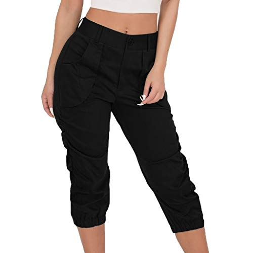 JOFOW Capri Pants Womens Solid Midi Military Trousers Loose Slim High Waist Cool Cargo Chino Casual Pleated Cigarette Pant (M,Black) ()