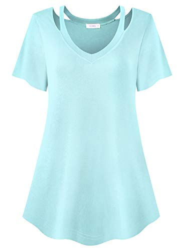 (Siddhe V Neck Short Sleeve Tunic Tops Flare Hem Basic Plus Size T Shirts Blouse for Women, Aqua Blue)