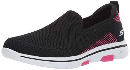 Skechers Women's GO Walk 5 - PRIZED Shoe, Black/Pink, 10 M US