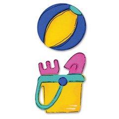 Sizzix Sizzlits Medium Die Hello Kitty Beach Ball & Pail 656008 ()