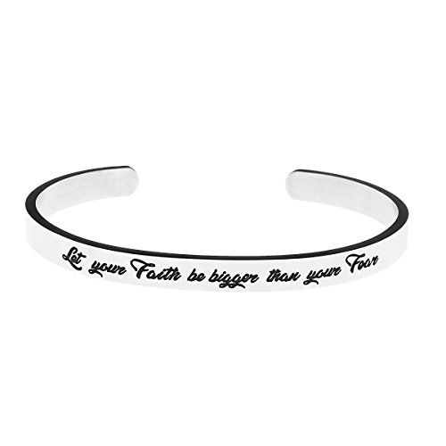 Yiyangjewelry Motivational Gifts Cuff Bracelet Inspirational Jewelry for Women Let Your Faith be Bigger Than Your Fear