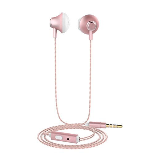 GBSELL Universal 3.5mm In-Ear Stereo Earbuds Earphone With Mic For Cell Phone (Rose Gold)