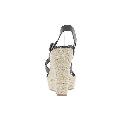 Espadrilles compensées noires à talons de 13cm brides larges entrecroisées