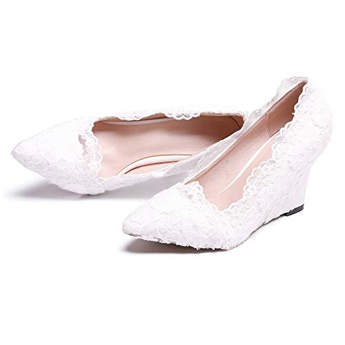 Chaussures Hnm Chaussures Compensées Mariée Taille Blanc Plateforme Femmes Eu Blanc 43 35 Dentelle De Compensé Talon ErEdtwq