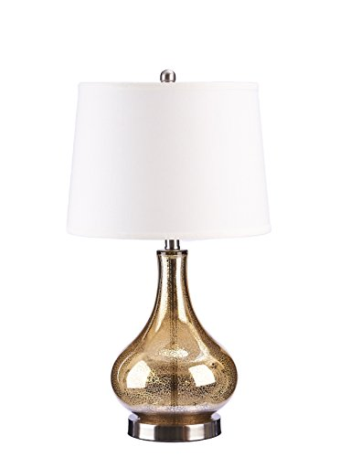 Catalina Lighting 19560-004 Transitional 3-Way Glass Gourd Table Lamp with Linen Shade, 25