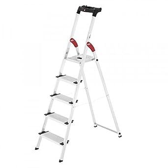 Hailo 0005258 Modelo XXL Escalera de Seguridad, Fabricada en Aluminio, Escalones Extra Profundos incluye Bandeja multiplicación, Versión de 5 Peldaños: Amazon.es: Industria, empresas y ciencia